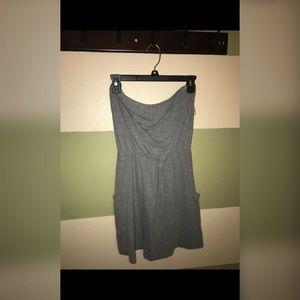 Grey strapless dress